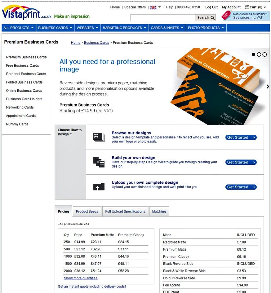 Vistaprint – Premium Business Cards review, including Vistaprint\'s ...
